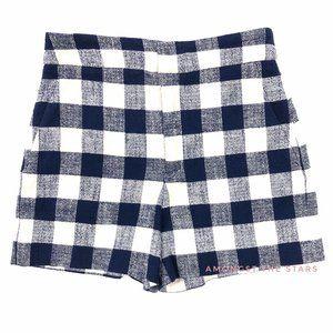 Zara Woman Blue White Checker Plaid Linen Shorts